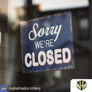 We'll be back by Thursday April 15th!<br /> <em>#MyBarbadosLottery #PlaySafe #StaySafe</em>