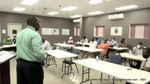 Mr. Royston Griffin, Civil Aviation Officer at the Civil Aviation Division in the Ministry of Foreign Affairs and Aviation giving an overview to drone operators present at a briefing hosted by the Ministry of Foreign Affairs and Aviation, at the Nevis Disaster Management Department's conference room at Long Point