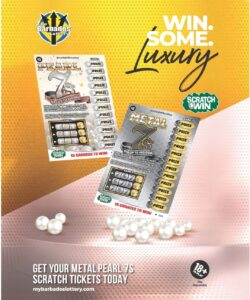 """With the tagline """"<em>Win Some Luxury</em>,"""" the quick prizes potentially offer a chance to grab some opportunity and comfort in what has been a challenging year for many. When players purchase a ticket, they will see the Metal or Pearl sides of the game alternatively stacked in the bins at the cashier. For just $5, a player can potentially net a high amount of prizes from one ticket, and with retailers being able to cash up to <strong>BDS$750</strong> per ticket, each player can benefit from some quick and easy wins on the spot."""