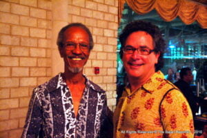 The product of a Guyanese mother and Barbadian father, <strong>Clairmonte</strong> (<em>at left with Drew McKenzie</em>) established an unbreakable bond with Barbados well over a half-century ago, visiting with some frequency to take part in theatre productions, in the process building a life-long relationship with the legendary Earl Warner and eventually settling here.
