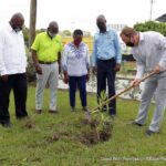 James Johnson, son of the late sports icon Ralph Johnson, planted the olive tree which was witnessed by BOA officials - President Sandra Osborne, Secretary-General Erskine Simmons, Vice President Cameron Burke, and Public Relations Consultant of the Ministry of Environment and National Beautification, Antoine Williams. Johnson later thanked the BOA on behalf of his family for the tribute.
