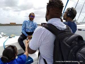 """Marine Biologist at Barbados Blue, <strong>Andre Miller</strong>, also described it as a historic exercise, noting that it was Barbados' coral nursery coming full circle. """"<em>It started 20 years ago when we had to remove corals that would have otherwise been killed during the expansion of the Port</em>."""