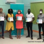 Barbadians recognized for environmentally-friendly inventions as part of the Bloom Cleantech Cluster Barbados Incubation programme, during an awards ceremony held at the Bagnall's Point Gallery & Annex on June 30, 2021. Left to right: Mrs. Misha Lobban Clarke (Executive Director, BCCI), Mr. Gregory Brewster, Focal point for SJPI Fishing Vessel Project, Ms. Kerri-Ann Bovell (Founder, Ecomycö), Ms. Ocene Power (Corporate Secretary, ProSolar 246 Inc), Mr. Dario Alleyne (Founder, BIM EV Services), Mr Julian Clarke (Founder, OnSolar Inc), and CEO of Export Barbados, Mark Hill.