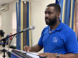 The Council's Deputy Manager Mr.<strong> Troy Wickham</strong>, addressing children attending the Prevention First Club seminar held last Friday, 9th July 2021 expressed concern with the activities of the youth during summer. (<em>Image via</em>:<strong> B'ds. Advocate</strong>)